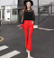 Womens Lace Hollow High Rise Flared Long Pants Formal Trousers Slim Korean K249