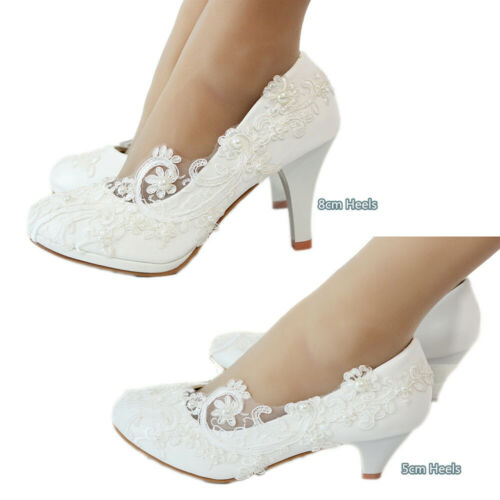 Women Wedding Lace Ivory White Bridal Bridesmaid Flat High Low Heel shoes size