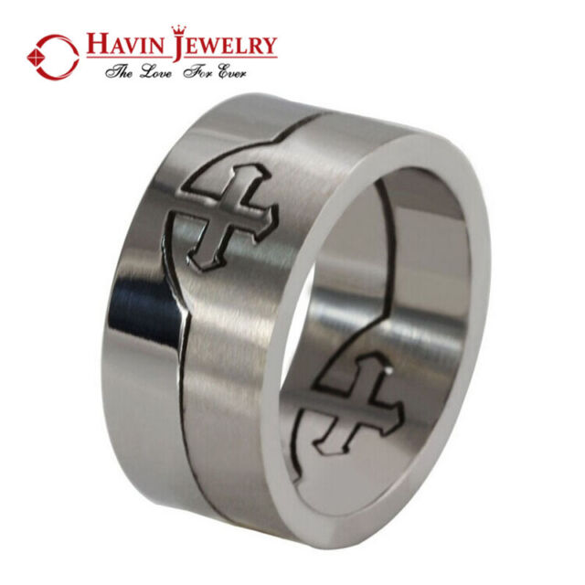 10mm Men's Big Silver Tone Stainless Steel Cross Ring Punk Rock Band Personality