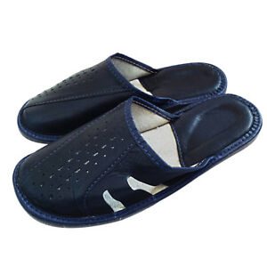 Mens Mules Leather Shoes for Man Husband Mules navy blue all size 7 8 9 10 11 12