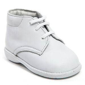 baby boy white leather high top shoes with laces size 3