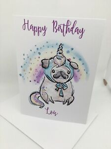 PERSONALISED PUG DOG BIRTHDAY CARD WATERCOLOUR 5X7 INCHES 2