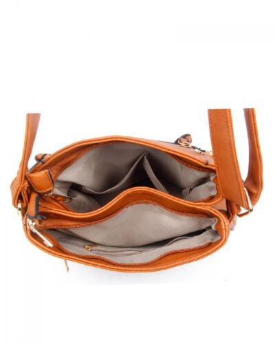 New Uk Ladies Multi Zip Pockets Messenger Handbag Cross body Shoulder Faux bad