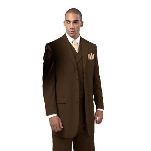 Men/'s Four Button Classic Wool Feel Back Center Split Solid Suit w// Vest 5263V