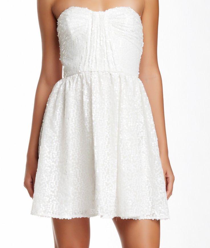 Jill Jill Stuart Strapless Weiß Floral Sequin Empire Waist Back Zip Dress Sz0
