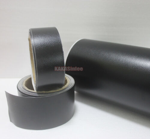 4inch Wide Hot Black Matte Leather Grain Texture Vinyl Sticker Tape Car Wrap AB
