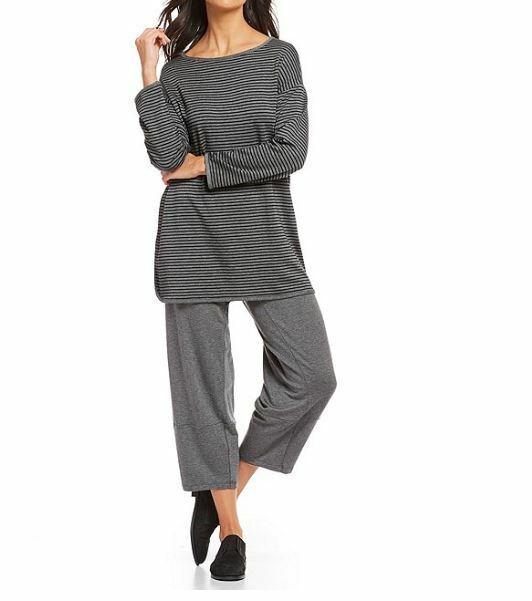 Eileen Fisher Ash schwarz Tencel Terry Striped Bateau Neck Top M, XL, 1X, 2X, 3X