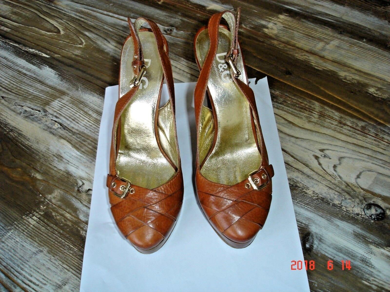 Diseñador Dolce &  Gabbana tan Bloque Tacón zapatos  & /3 3f2f3c