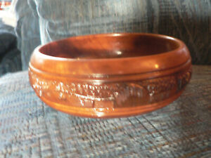 Made in Philippines Bowl Five Piece Set Vintage Amling/'s Flowerland Wooden Dish