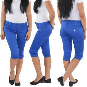 Damen-Capri-3-4-Shorts-Sommerhose-Bermuda-Hose-kurze-Hueft-Stretch-Jeans-Blau