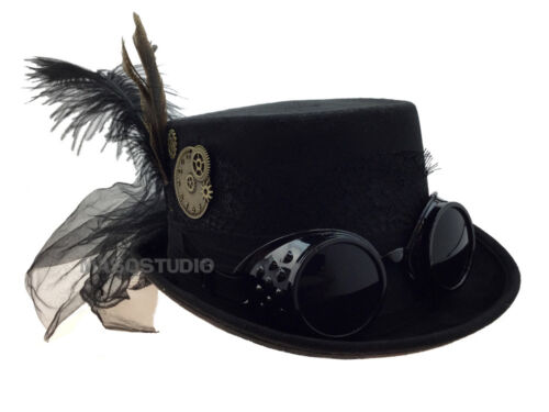Renaissance Derby Top Hat Goggles For Ladies Costume Dress up New Year Halloween