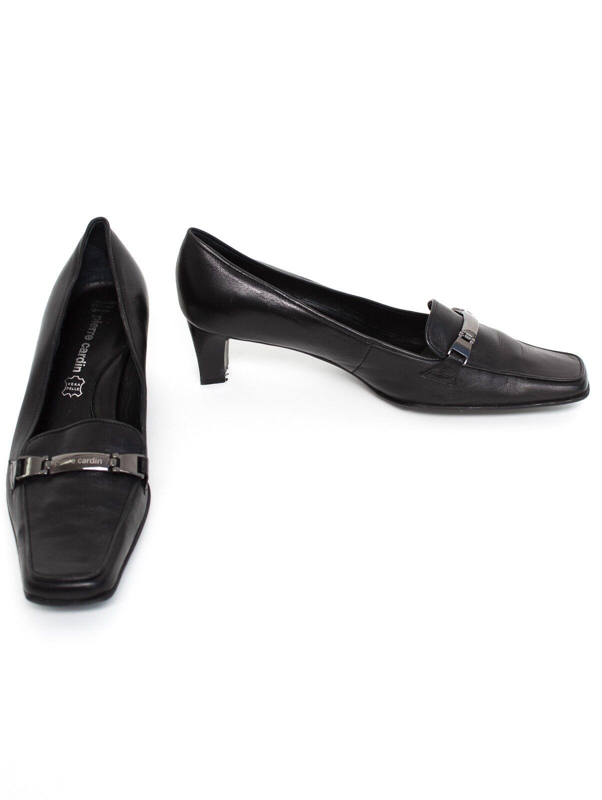 PIERRE CARDIN escarpins Taille Eu 39 chaussures femmes Talons Hauts chaussures en cuir noir