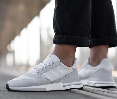 Nuevo adidas Zx 500 RM Hombre Zapatillas Informal Gris Claro Blanco Todo Tallas | eBay