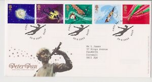 Gancho-PMK-GB-Royal-Mail-FDC-Primer-Dia-Cubierta-2002-Peter-Pan-conjunto-de-sello