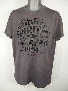 MENS-SUPERDRY-SIZE-LARGE-GREY-MARL-1954-LOGO-CREW-NECK-SHORT-SLEEVE-T-SHIRT-TOP