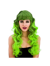 Ladies Long Bewitched Wig Black With Green Streaks Fancy Dress Halloween Witch