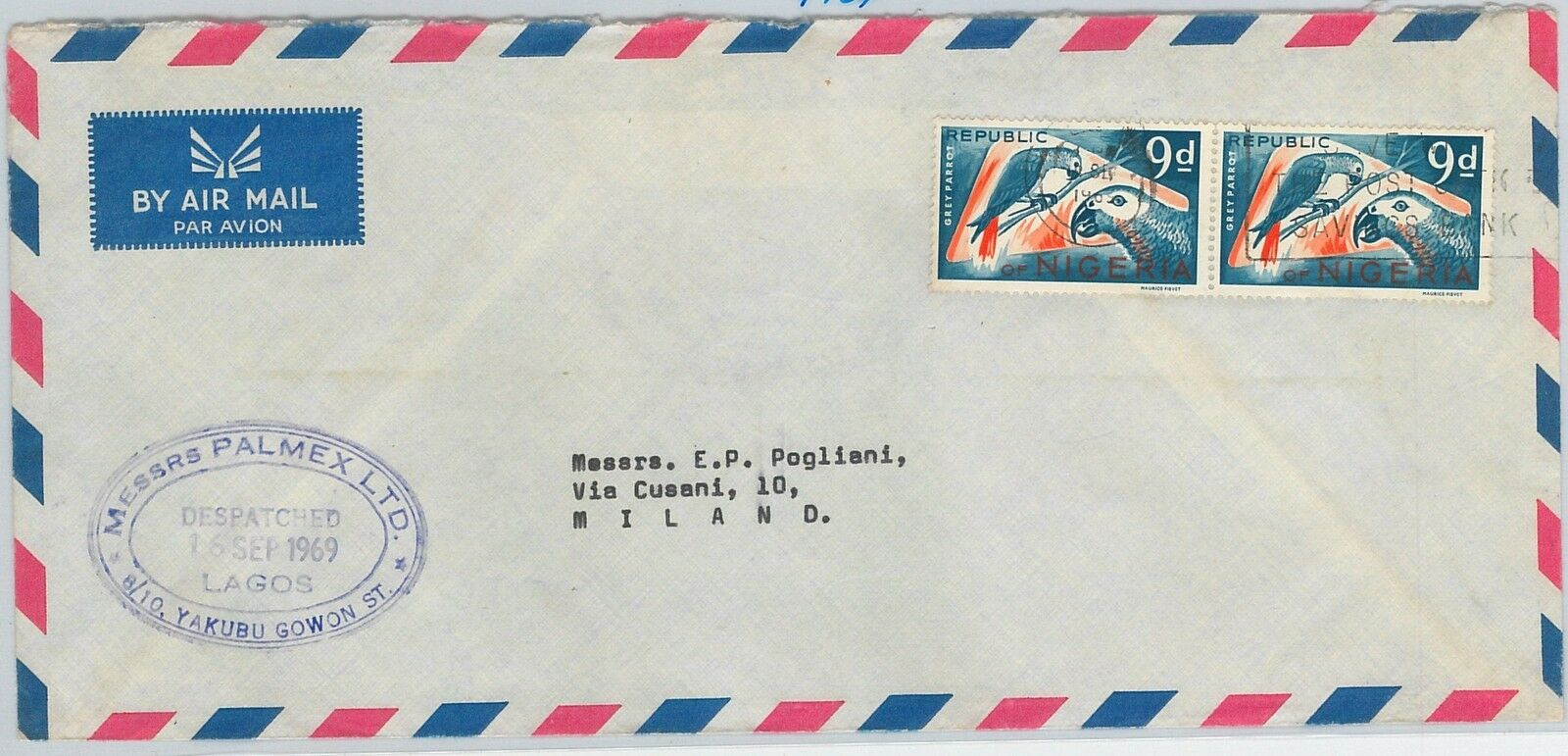 61397 - NIGERIA - POSTAL HISTORY - AIRMAIL COVER  to ITALY - 1965 - BIRDS