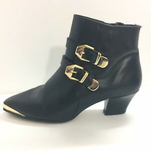 7645b5b4c Cougar Boots Womens Black Size 8.5 Gold Buckles Spain Leather ...