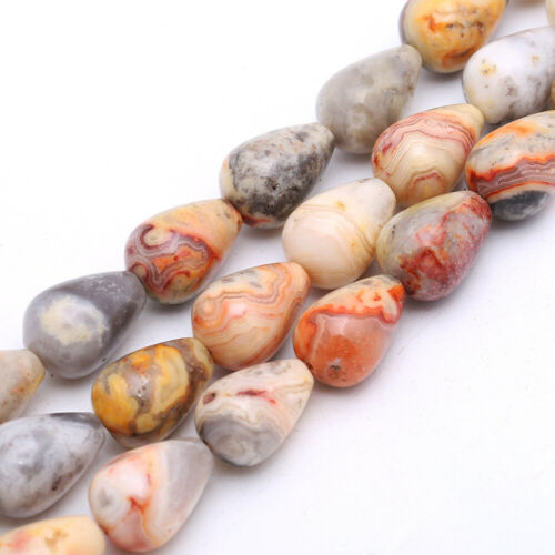 Water Drop Loose Beads Natural Gemstone Tiger Eye Topaz Agate Jasper DIY Making