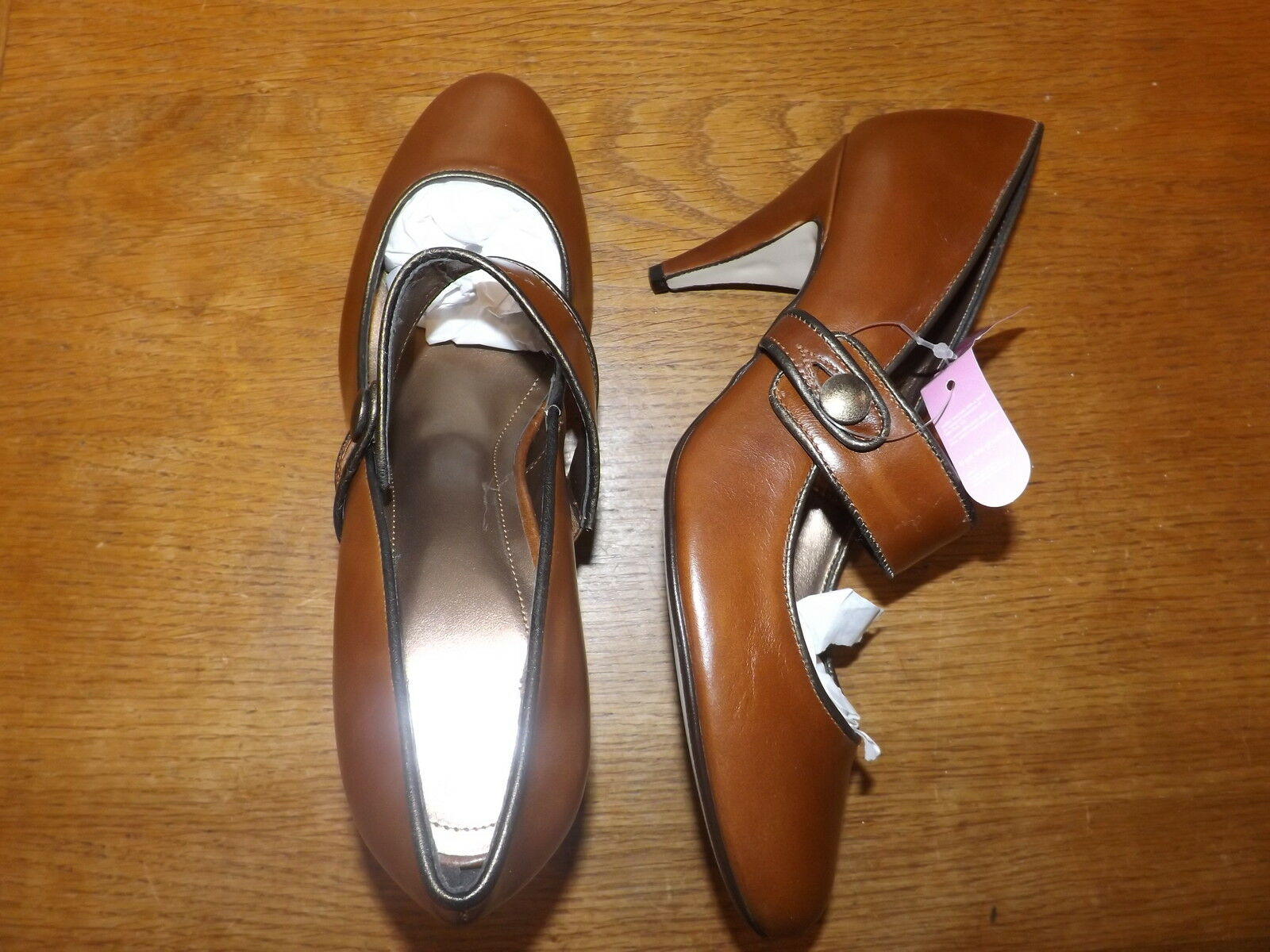 Ladies Tan Leather Mary Jane Shoes Size .50) 5 Eur 38 (RRP .50) Size New d91c9e