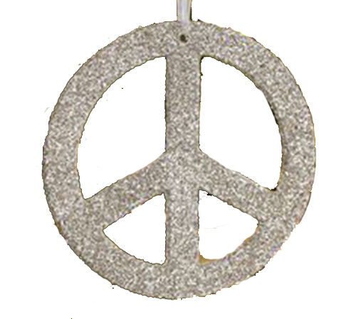 New Pottery Barn World Peace Sign Glitter Christmas