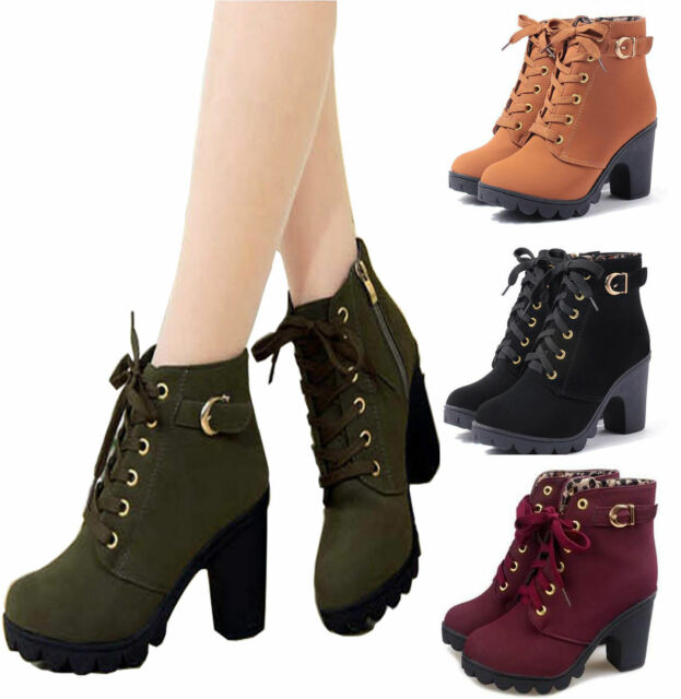 Women Lady Lace Up Mid Chunky Block Heel Ankle Boots Platform Buckle Suede Shoes