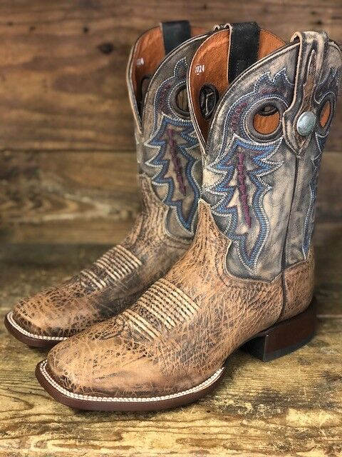 Dan Post Men's Tan & Brown Distressed Bison Square Toe Western Boots DP3988