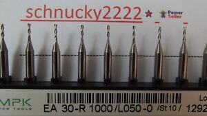 10-Stueck-VHM-Zweischneiden-Fraeser-1-0-mm-Dremel-Proxxon-CNC