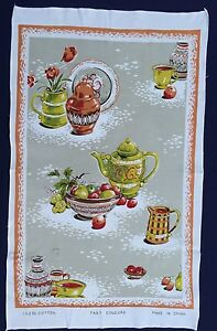 Vintage-Retro-Souvenir-Unused-COTTON-Tea-Towel-KITCHEN-Still-Life-High-TEA-Fruit