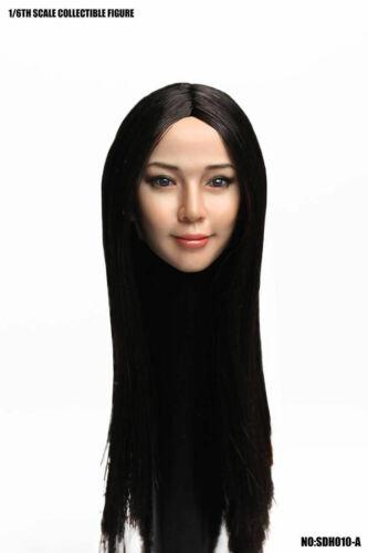 SUPER DUCK SDH010A Asia Black Long Hair Female Head Sculpt F 12/'/' Action Figure