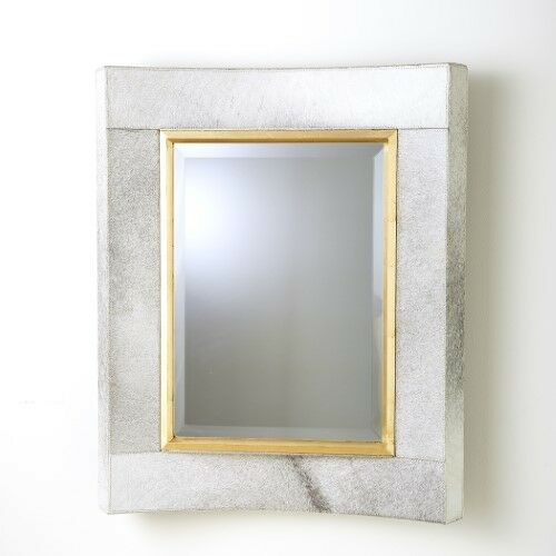 36  Tall Wall Mirror Weiß Hair on Hide Leather Gold Leaf Wood Fillet Short