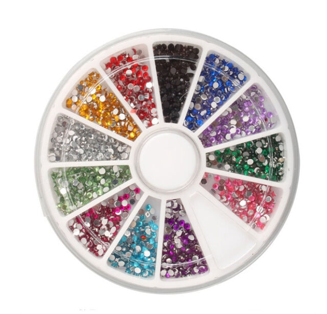 2400 NAIL RHINESTONES 1.5MM ROUND DIAMANTE ART TIP GEMS DIAMOND 12 COLOUR MO1.