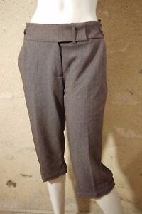JACQUELINE-RIU-Taille-42-Superbe-pantacourt-femme-corsaire-marron-gris