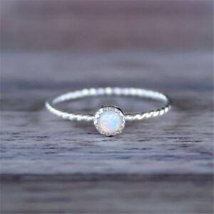 White-Fire-Opal-CZ-Simple-Wedding-Proposal-Women-Jewelry-925-Silver-Ring-Sz6-10