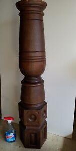 Vintage Oak Wooden Stairway Newel Post