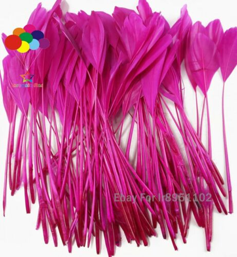 Rose red Coque Stripped Millinery Clothing Ribbons Rooster Tail Feather Party