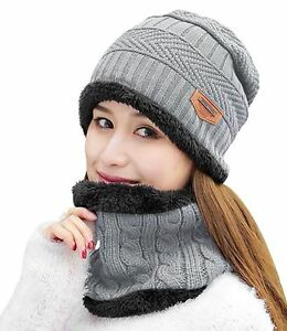 0033e02f72d9c9 HindaWi Womens Beanie Winter Hat Scarf Set Slouchy Warm Snow Knit ...