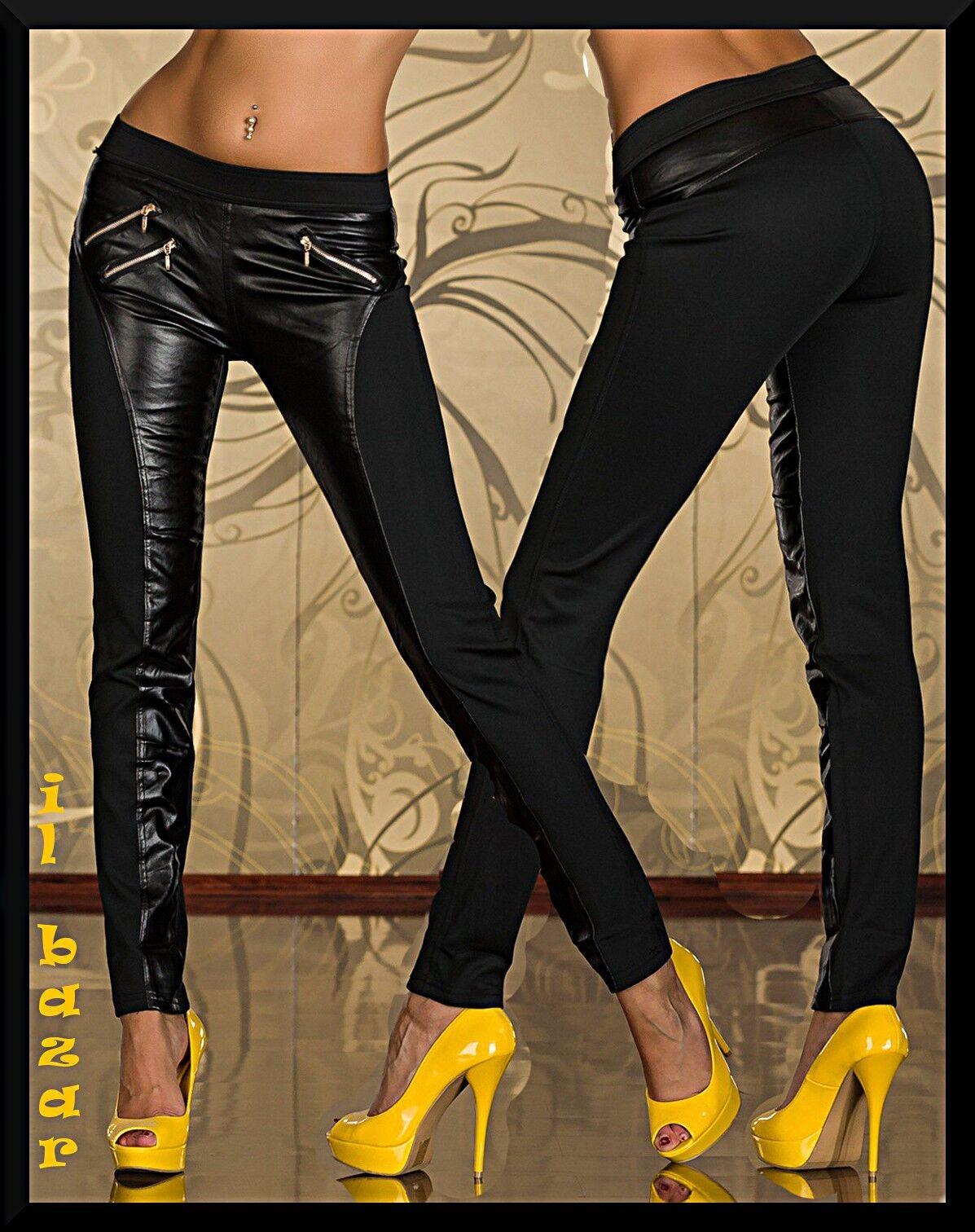 Pantalone leggings cotone confort  con ecopelle zip dorate taglie 40,42,44