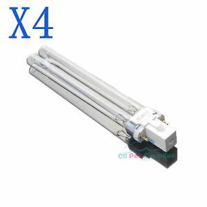 4 PCS UV Light Bulbs 9W Watt G23 Base for Aquarium UVC Sterilizer