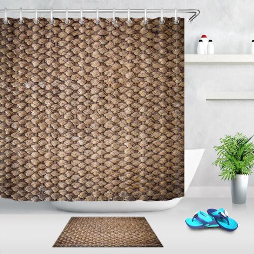 "72X72/"" Hemp Rope Brown Shower Curtain Waterproof Fabric Bathroom Decor Bath Mat"