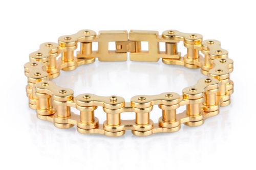 "14//19//23mm Men 316L Stainless Steel Biker Motorcycle Bracelet 7-11/"" Gold Tone"