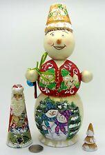 Russian NESTING doll BIG SNOWMAN SANTA Christmas Tree Matrioshka 3 MAMAYEVA GIFT
