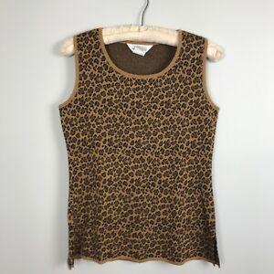 Exclusively-Misook-Cheetah-Leopard-Print-Tank-Top-Acrylic-Sleeveless-Knit-S