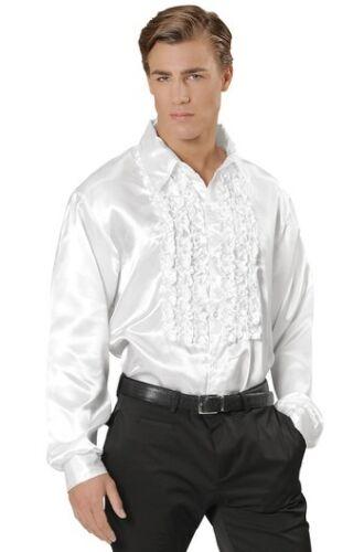 "PINK Satin 70/'s 80/'s Ruffle Disco Shirt Fancy Dress Costume XXL 52/"" Chest"