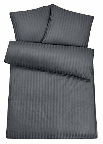 Exklusive Bettwäsche in Hotelqualität Damast-Streifen Grau 135x200 155x220 cm