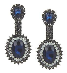 Ella Jonte Earrings Silver Blue White Diva Rhinestone Noble And Pretty Party
