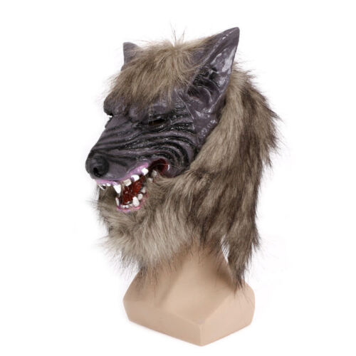 Creepy Latex Cosplay Halloween Wolf Head Mask Animal Party Costume Theater Prop