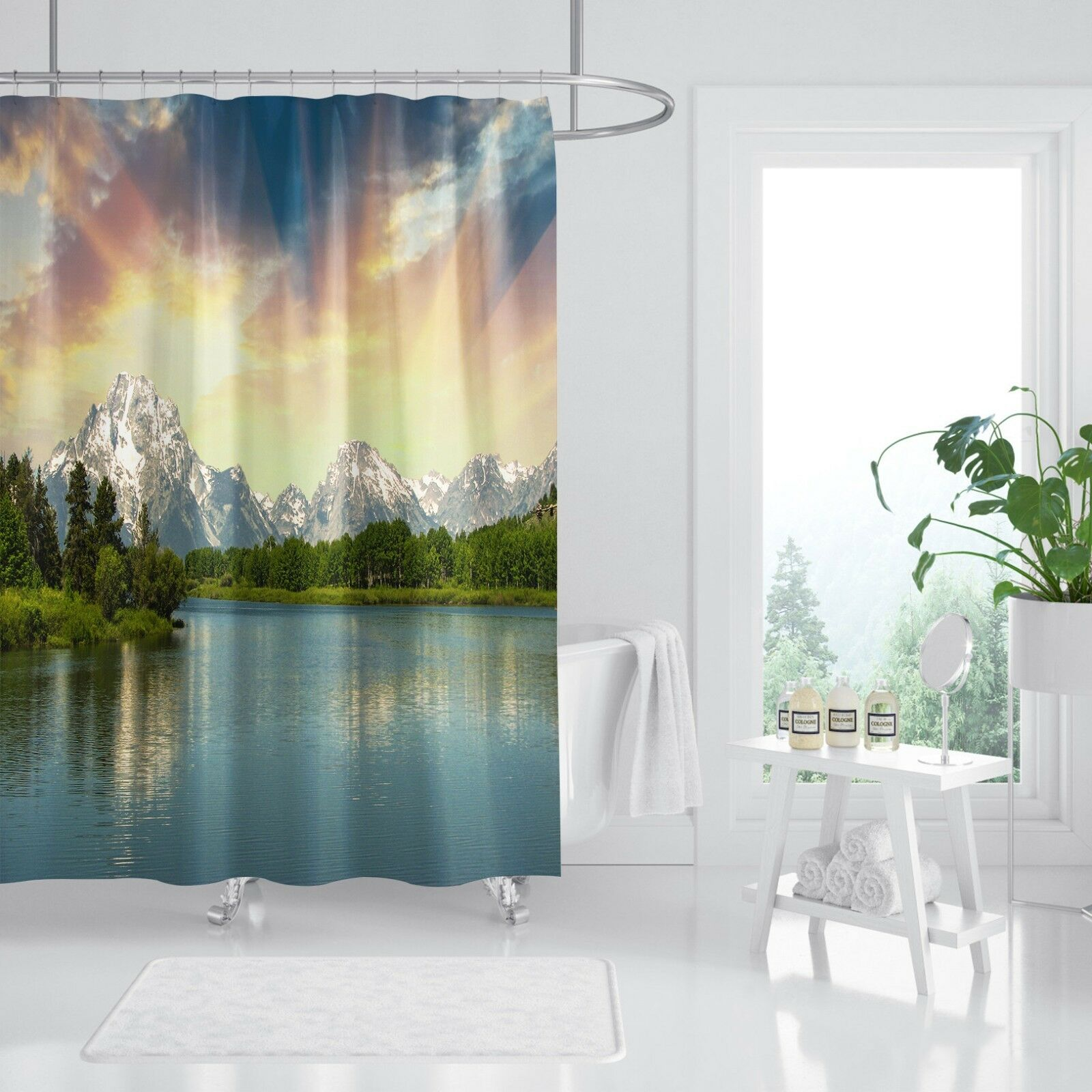3D  Berg See 122 Duschvorhang Wasserdicht Faser Bad Daheim Windows Toilette DE | Spielzeugwelt, fröhlicher Ozean