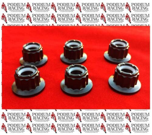 DUCATI BLACK TITANIUM 12 POINT SPROCKET NUTS SET OF 6 LOCKING 899 1199 PANIGALE
