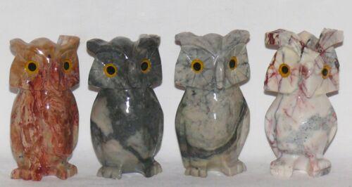 in rot grau braun weiß Weisheit Symbol Eulen Eule 6 cm 1x Speckstein Tier Owl